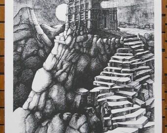 Temple Vision, serigraph print