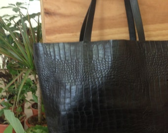 leather shopper leather tote shoulder bag black tote
