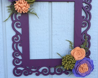 Laser cut frame, felt flowers, wall decor, home decor, wall hanging, floral decor, floral art, wall art, felt flower decor,