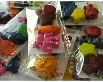 Packets of 4, variety crayons, gift bags, party favors