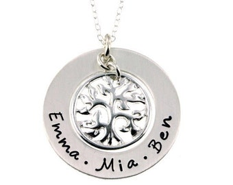 custom necklace, family tree, family necklace, name necklace, birthstone necklace, mom necklace, grandma necklace