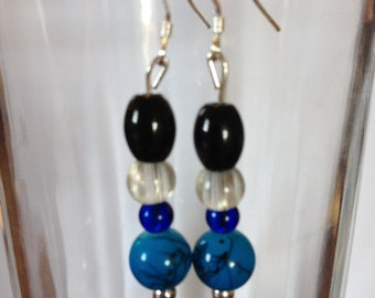 Turquoise colored beaded earrings