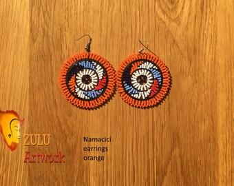 Namacici orange- ZULU beaded earrings