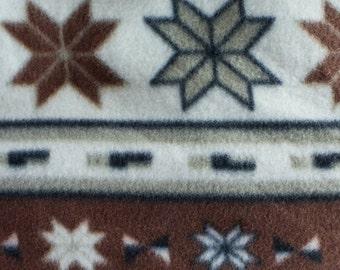 Brown Ornamental Print Fleece Fabric by the yard