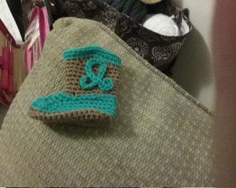 Hand Crocheted Cowboy Booties