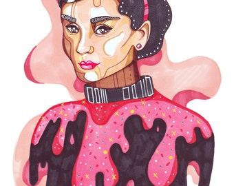 Audrey Hepburn A4 A5 Digital Woman Illustration Print, audrey, woman portrait, portraits, drawing, illustration