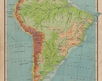 Double Sided Map of South and Central America, South America, Central America, America, Map, Maps, Vintage Maps, Original Maps, Map, Maps