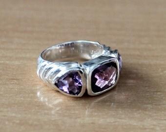 Amethyst Gemstone Sterling Silver February Birthstone Ring Size 8.5