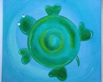 Turtle canvas painting. Nursery decor.  In shades of green, pink and mauve. Beautiful addition to any childs room, playroom or nursery.