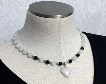 Genuine White Quartzite and Black Agate Beaded Choker Necklace with White Quartzite Heart Pendant