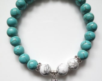 Howlite and Turquoise Crystal Rhinestone Bracelet