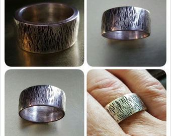 Tree Bark Ring - 12mm Sterling Silver