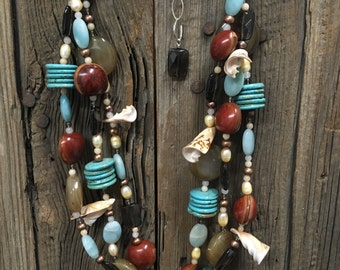 Shell, Turquoise + Nut Necklace