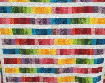 Modern Rainbow Art Quilt Handmade Quilt Throw Rainbow Stripe Quilt Ready To Ship