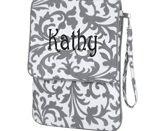 Monogrammed Padded I-Pad Case - Grey Floral