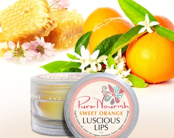 Pure Nourish Luscious Lips - organic natural vegan sweet orange lip balm