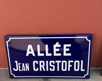 Old French Street Enameled Sign Plaque - vintage christofol 2