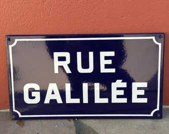 Old French Street Enameled Sign Plaque - vintage galilee
