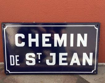 Old French Street Enameled Sign Plaque - vintage st jean 4