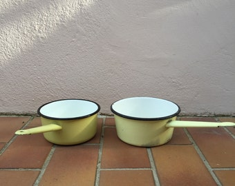 Vintage French Enamelware white yellow Enamel Coffee Pot Copper Enameled Enamel