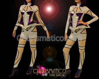CHARISMATICO Purple and silver Lady Gaga corset with silver bodystocking costume