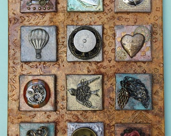 12 Canvases in One Mixed Media Assemblage Steampunk Art Original Collage Vintage Hand Painted OOAK Found Objects