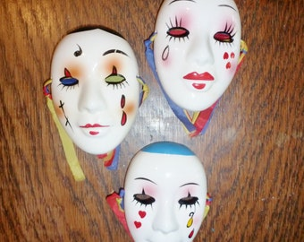 3 Miniature Wall Hanging Masks