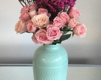 Handmade Ceramic Flower Vase Jade Green