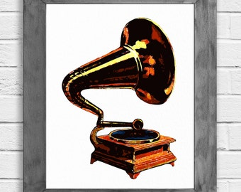 Gramaphone Print, Gramaphone Art, Music Lover Gift, Music Decor, Music Art, Music Wall Art, Music Poster, Music Gift, Music Room Decor