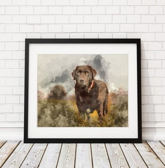 Chocolate Lab Watercolor Print Chocolate Lab Painting Dog