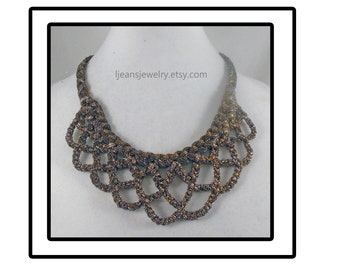 Crochet Scolloped Metallic Fabric Bib Necklace