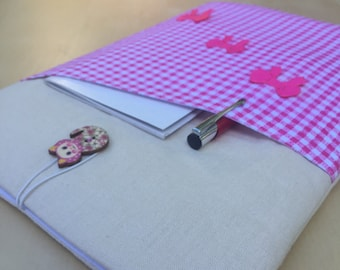 """12"""" MacBook Case, New MacBook 12inch Case, Laptop Case Pouch Sleeve Cute Bow Tartan Fabric Padded Linen Fabric Handmade for Cat lovers UK"""