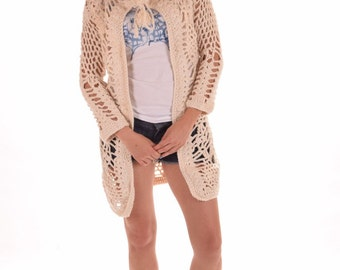 beige 100% cotton cardigan