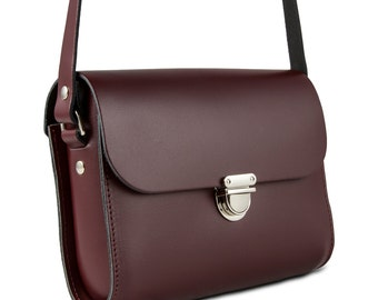 Burgundy Small Leather Crossbody/Shoulder Bag, Made in London