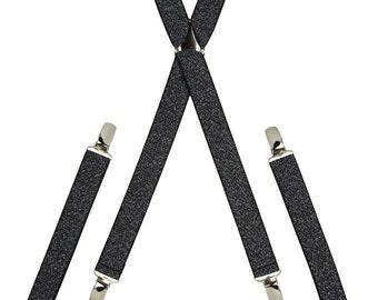 Sparkling Black and Silver Skinny Braces