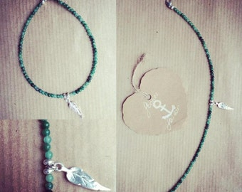 Stone bracelet 925 Silver Feather charm and African jade lasts (assortment of PENDANTS!!)