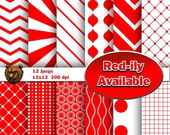 Red digital paper, scrapbooking, background