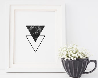 1006 // Black and White Marble Triangles Geometric Design Digital Download JPEG and PDF