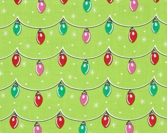 Twinkly Lights Fabric by Michael Miller - Green