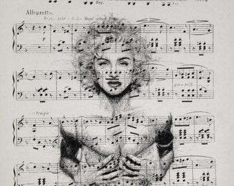 Printing / Antique sheet Music /Marilyn Monroe/ Hand made decor interior picture ART