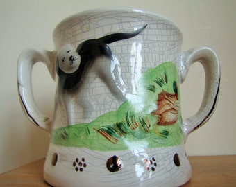 Antique Extra Large Staffordshire Loving Mug Cup with Frog inside - Hunting Scene - Circa 1820s - England - Collectible