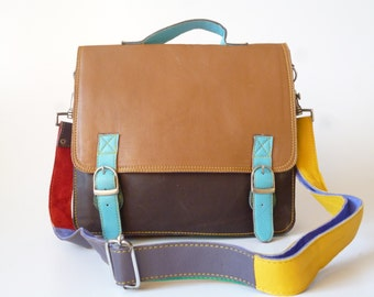Recycled leather satchel/ laptop bag