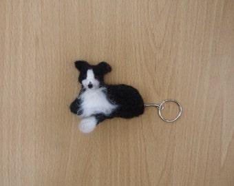 Border collie keyring,needle felt collie,collie dog,collie keyring