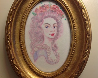SALE - Framed Marie Antoinette - Inspired Portrait