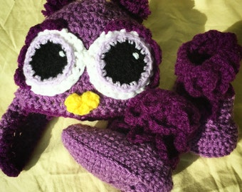 Purple Owl Beanie and matching Feather Booties