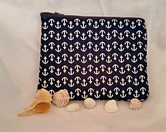 Blue anchor purse, blue anchor bag, silver anchor bag, anchor pouch