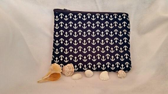 Blue anchor purse, blue anchor bag, silver anchor bag, anchor pouch