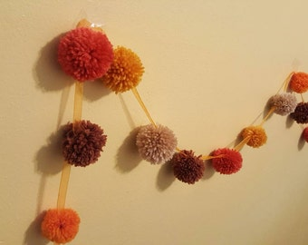 Pompom Garland with Earthy Colors