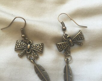 Bow and Feather  Earrings
