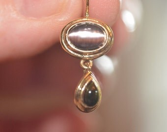 Vintage,Purple Cat's Eye with Onyx Teardrop Earrings